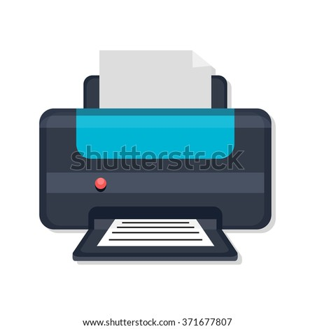 flat Vector icon - illustration of printer icon isolated on white