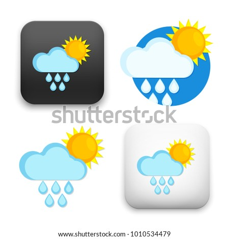 flat Vector icon - illustration of Rain and sun icon
