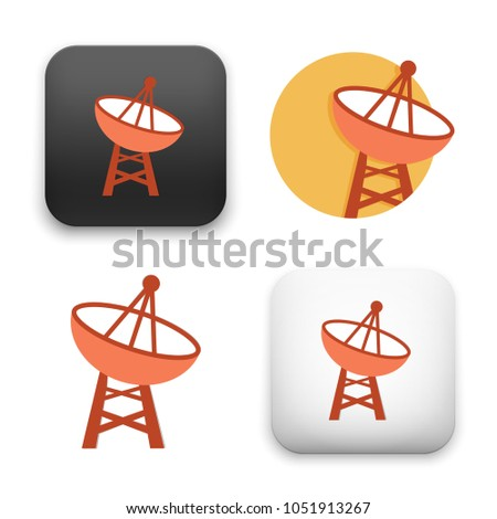 flat Vector icon - illustration of satellite dish icon