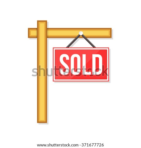 flat Vector icon - illustration of sold sign isolated on white