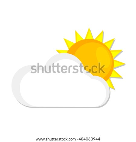 flat Vector icon - illustration of sun and cloud weather web icon isolated on white