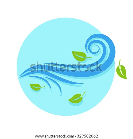 flat Vector icon - illustration of wind icon isolated on white