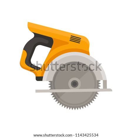 Flat vector icon of circular saw with steel toothed disc. Electric hand tool for cutting wood or metal. Building equipment