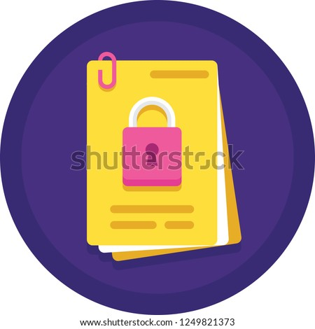Flat vector icon of document with padlock sign, confidential agreement concept illustration