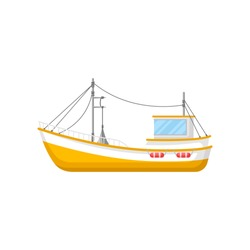 Flat vector icon of yellow fishing trawler. Ship with trawling gear and lifebuoys. Marine vessel for industrial sea goods production