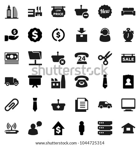 Flat vector icon set - alarm clock vector, scissors, exchange, investment, dollar growth, man, presentation board, medal, personal information, tie, money, phone 24, delivery, car, document, package #1044725314