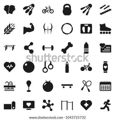 Flat vector icon set - barbell vector, scales, heart pulse, bike, weight, jump rope, horizontal bar, punching bag, fitball, muscule hand, buttocks, boxing glove, roller Skates, skateboard, molecule