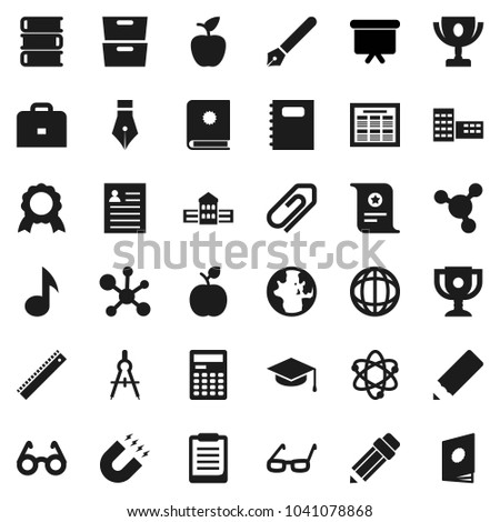 Flat vector icon set - book vector, copybook, graduate hat, pen, pencil, school building, ruler, drawing compass, glasses, case, apple fruit, atom, calculator, schedule, clipboard, award cup, medal
