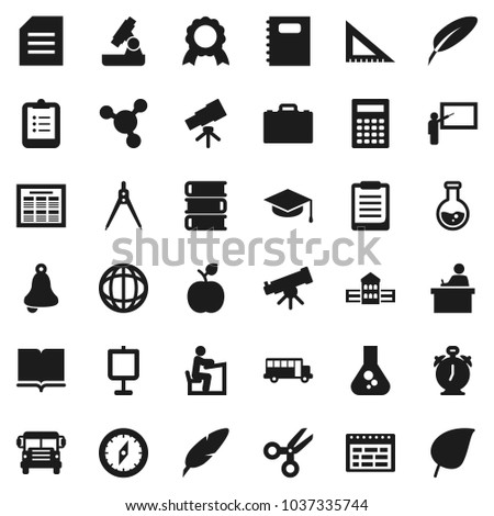 Flat vector icon set - book vector, copybook, graduate hat, pen, school building, blackboard, corner ruler, drawing compass, student, case, apple fruit, telescope, microscope, bell, calculator, bus