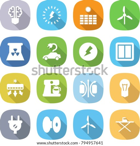 flat vector icon set - bulb brain vector, lightning, sun power, windmill, nuclear, electric car, electricity, switch, air conditioning, coffee maker, magnetic field, plug, coil, iron board