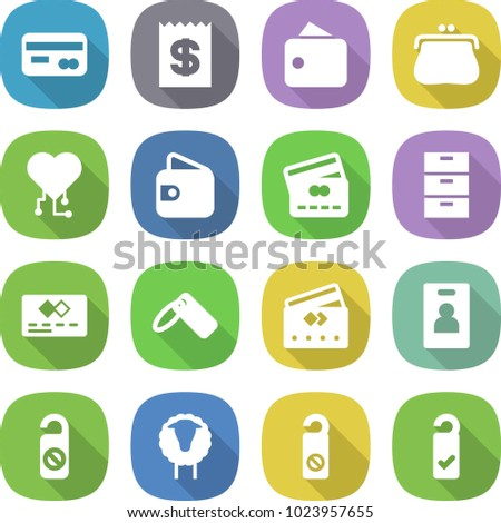 flat vector icon set - card vector, receipt, wallet, purse, cardio chip, credit, archive, label, identity, do not distrub, sheep, please clean