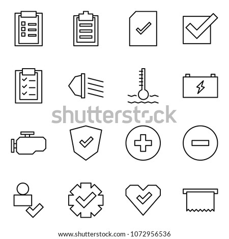 Flat vector icon set - clipboard vector, check document, low beam, coolant, battery, engine, shield, add, minus, user, guarantee, heart, receipt