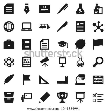 Flat vector icon set - copybook vector, graduate hat, pen, pencil, blackboard, corner ruler, student, case, atom, telescope, table lamp, notebook pc, schedule, award cup, certificate, school bus