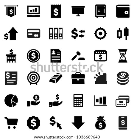 Flat vector icon set - exchange vector, dollar coin, graph, gold ingot, pie, cart, japanese candle, laptop, wallet, money bag, case, investment, growth, auction, bank building, calculator, receipt