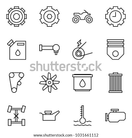 flat vector icon set   gear