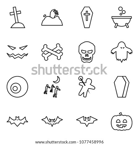 Flat vector icon set - grave vector, zombie, coffin, witch cauldron, scary face, bones, skull, ghost, eye, woodoo doll, bat, helloween