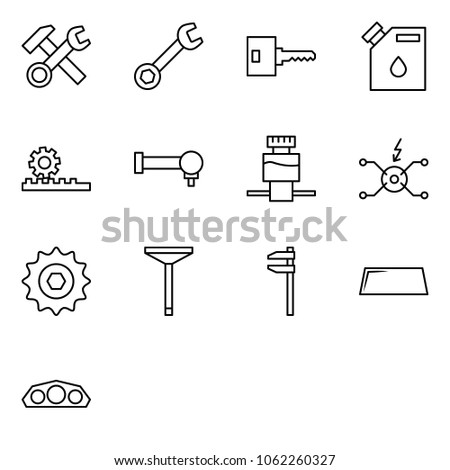 Flat vector icon set - hammer wrench cross vector, key, canister drop, steering gearbox, spherical bearing, brake fluid reservoir, spark distributor, chain gear, valve, caliper, windshield