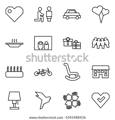 Flat vector icon set - heart vector, marry me, car, balloon, eat, family portrait, gifts, friendship, cake, tandem, rocking chair, house, table lamp, dove, palms, check