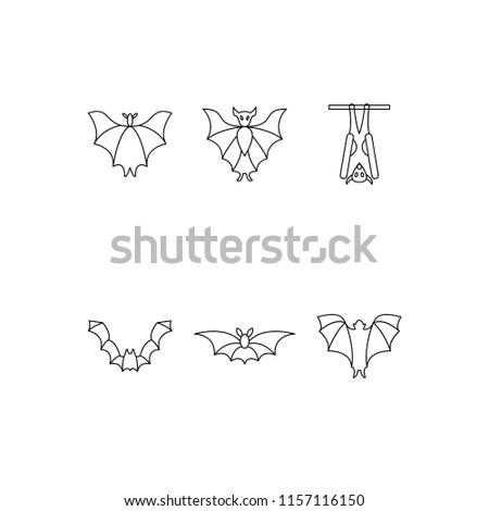 Flat vector icon set - helloween vector bat