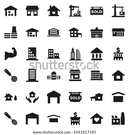 Flat vector icon set - house hold vector, skimmer, university, school building, bank, muscule hand, office, dry cargo, warehouse, hospital, cottage, chalet, barn, sold signboard, apartments, factory