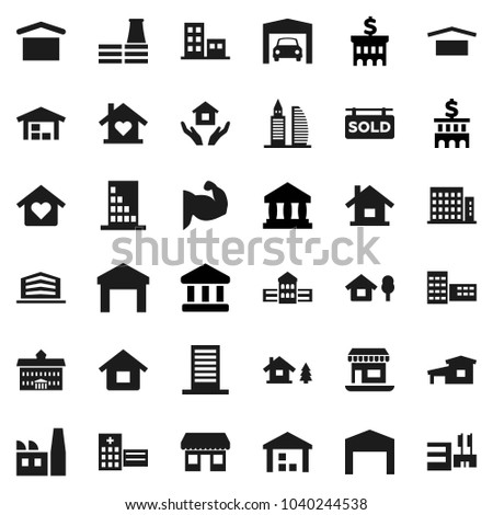 Flat vector icon set - house hold vector, university, school building, bank, muscule hand, office, dry cargo, warehouse, hospital, cottage, chalet, garage, barn, sold signboard, apartments, factory