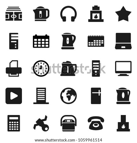 flat vector icon set   kettle