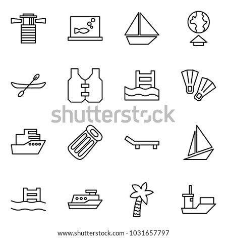 Flat vector icon set - lighthouse vector, aquarium, sail ship, upload, canoe, life vest, pool, flippers, cruiser, inflatable mattress, lounger, boat, palm, shipping