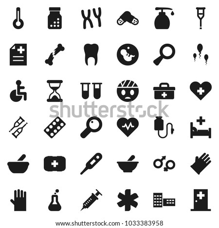 Flat vector icon set - liquid soap vector, rubber glove, school building, heart pulse, first aid kit, doctor bag, ambulance star, disabled, cross, thermometer, flask, vial, gender sign, magnifier