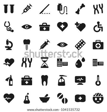 Flat vector icon set - liquid soap vector, school building, heart pulse, cross, first aid kit, doctor bag, disabled, thermometer, flask, vial, eye, syringe, scalpel, broken bone, sand clock, pills