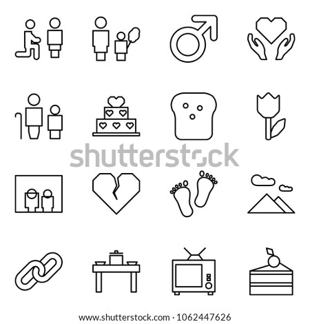 Flat vector icon set - marry me vector, mother and daughter, male sign, love, grandfather grandson, cake, bread, tulip, family portrait, broken heart, baby feet, mountains, link, dinner table, tv