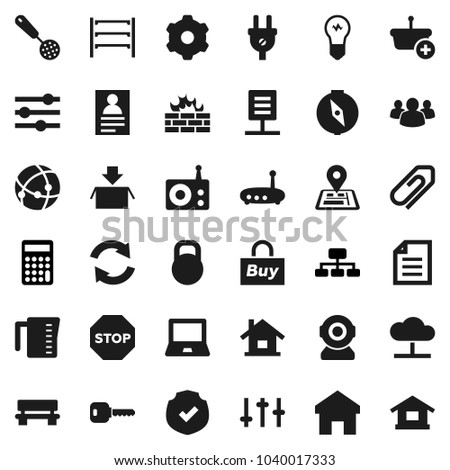 Flat vector icon set - measuring cup vector, skimmer, notebook pc, compass, document, personal information, calculator, hierarchy, navigator, protected, weight, shelving, radio, settings, group, key