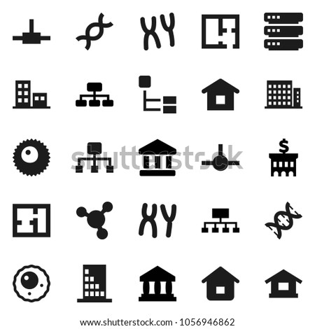 Flat vector icon set - molecule vector, bank, building, hierarchy, dna, chromosomes, ovule, connect, big data, plan, apartments, home