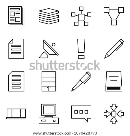 Flat vector icon set - newspaper vector, data, network star, triangle, document, satellite antenna, warning, pen, bookcase, book, blackboard, pc, chat, assembly #1070428793