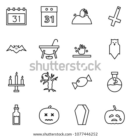 Flat vector icon set - 31 october vector, helloween, zombie, inverted crucifix, bat, witch cauldron, owl, chandelier, dead tree, candy, potion, pumpkin, coffin
