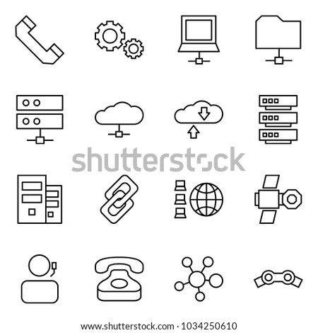 Flat vector icon set - phone horn vector, gears, notebook, share folder, server, cloud service, exchange, link, network, satellite, receptionist, molecule, chain