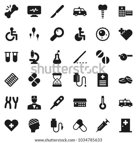 Flat vector icon set - pills vector, heart cross, disabled, doctor, thermometer, flask, vial, magnifier, syringe, scalpel, broken bone, sand clock, blister,  microscope, chromosomes, sperm