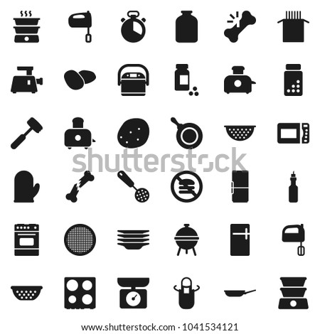 Flat vector icon set - plates vector, pan, colander, apron, cook glove, timer, skimmer, meat hammer, mixer, toaster, oven, bbq, sieve, jar, pasta, potato, oil, pills vial, no fastfood, broken bone