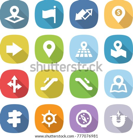 flat vector icon set - pointer vector, flag, up down arrow, dollar pin, right, geo, map, route, escalator, signpost, handwheel, compass, electric magnet
