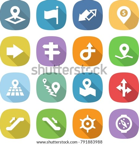 flat vector icon set - pointer vector, flag, up down arrow, dollar pin, right, singlepost, trip, geo, map, route, escalator, handwheel, compass