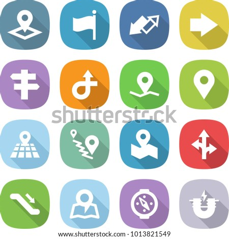 flat vector icon set - pointer vector, flag, up down arrow, right, singlepost, trip, geo pin, map, route, escalator, compass, electric magnet