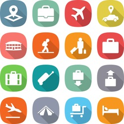 flat vector icon set - pointer vector, portfolio, plane, car, airport building, tourist, passenger, suitcase, baggage get, arrival, tent, trolley, bed