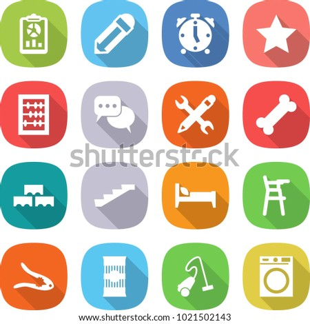 flat vector icon set - report vector, pencil, alarm clock, star, abacus, discussion, wrench, bone, block wall, stairs, bed, Chair for babies, walnut crack, pasta, vacuum cleaner, washing machine