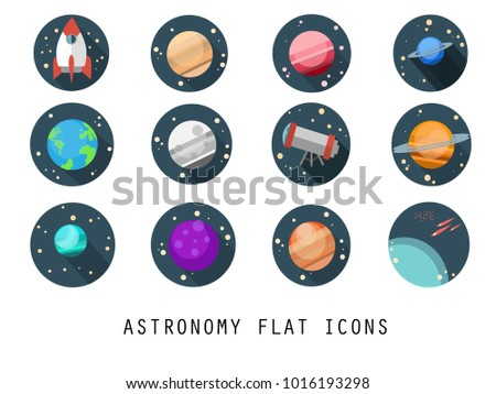 Flat vector icon set-rocket,planet,mar,mercury,jupiter,moon,earth,saturn,telescope,star,comet.Colorful planets set. Vector illustration.