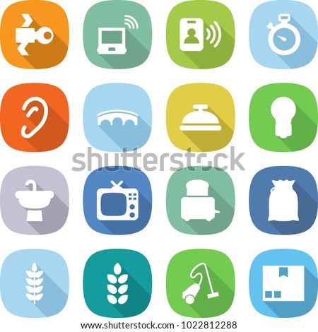 flat vector icon set - satellite vector, notebook wireless, pass card, stopwatch, ear, bridge, service bell, bulb, sink, tv, toaster, flour, spike, vacuum cleaner, package