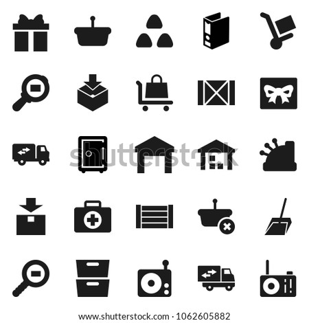 Flat vector icon set - scoop vector, cereal, archive, binder, safe, first aid kit, wood box, warehouse, package, cargo search, radio, relocation truck, gift, cashbox, basket, trolley #1062605882