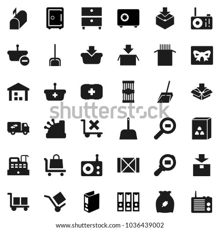Flat vector icon set - scoop vector, cereal, pasta, archive, binder, safe, first aid kit, wood box, cargo, no trolley, warehouse, package, search, radio, relocation truck, mailbox, gift, cashbox #1036439002