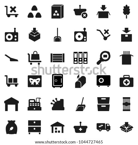 Flat vector icon set - scoop vector, cereal, pasta, archive, binder, safe, first aid kit, wood box, cargo, no trolley, warehouse, package, search, radio, relocation truck, mailbox, gift, cashbox #1044727465