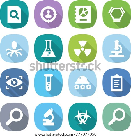 flat vector icon set - search document vector, target audience, annual report, hex molecule, virus, flask, nuclear, microscope, eye identity, vial, lunar rover, clipboard, magnifier, biohazard