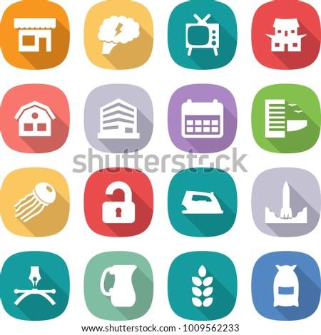 flat vector icon set - shop vector, brain, tv, japanese house, office, calendar, hotel, jellyfish, unlocked, iron, rocket start, drawing pen, jug, spike, flour