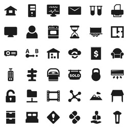 Flat vector icon set - signpost vector, client, truck trailer, receipt, warehouse, weight, route, film frame, remote control, vial, sand clock, pills, diagnostic monitor, network, folder, server
